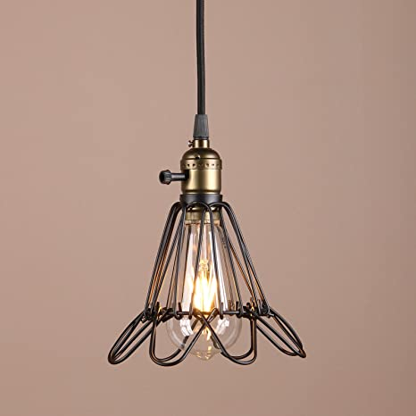 Permo black metal vintage style industrial opening and closing hanging light pendant wire cage lamp guard