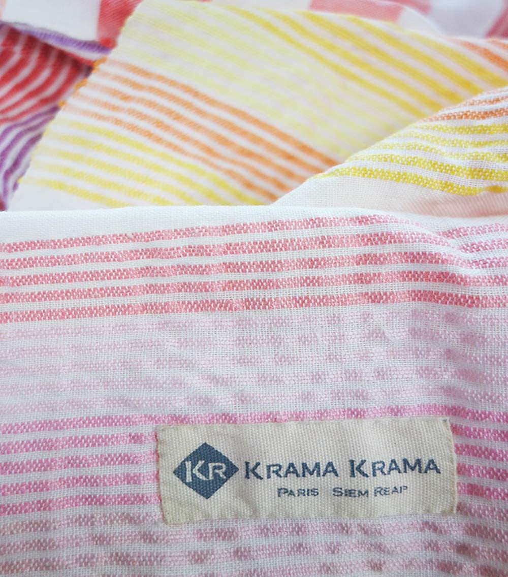 Krama Krama Foulard en coton multicolore rose rouge