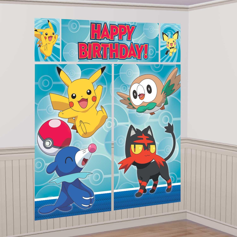 Pokemon Core Pikachu Scene Setter Wall Poster Photo Backdrop 5 piece Amscan 670663 Birthday Party Supplies