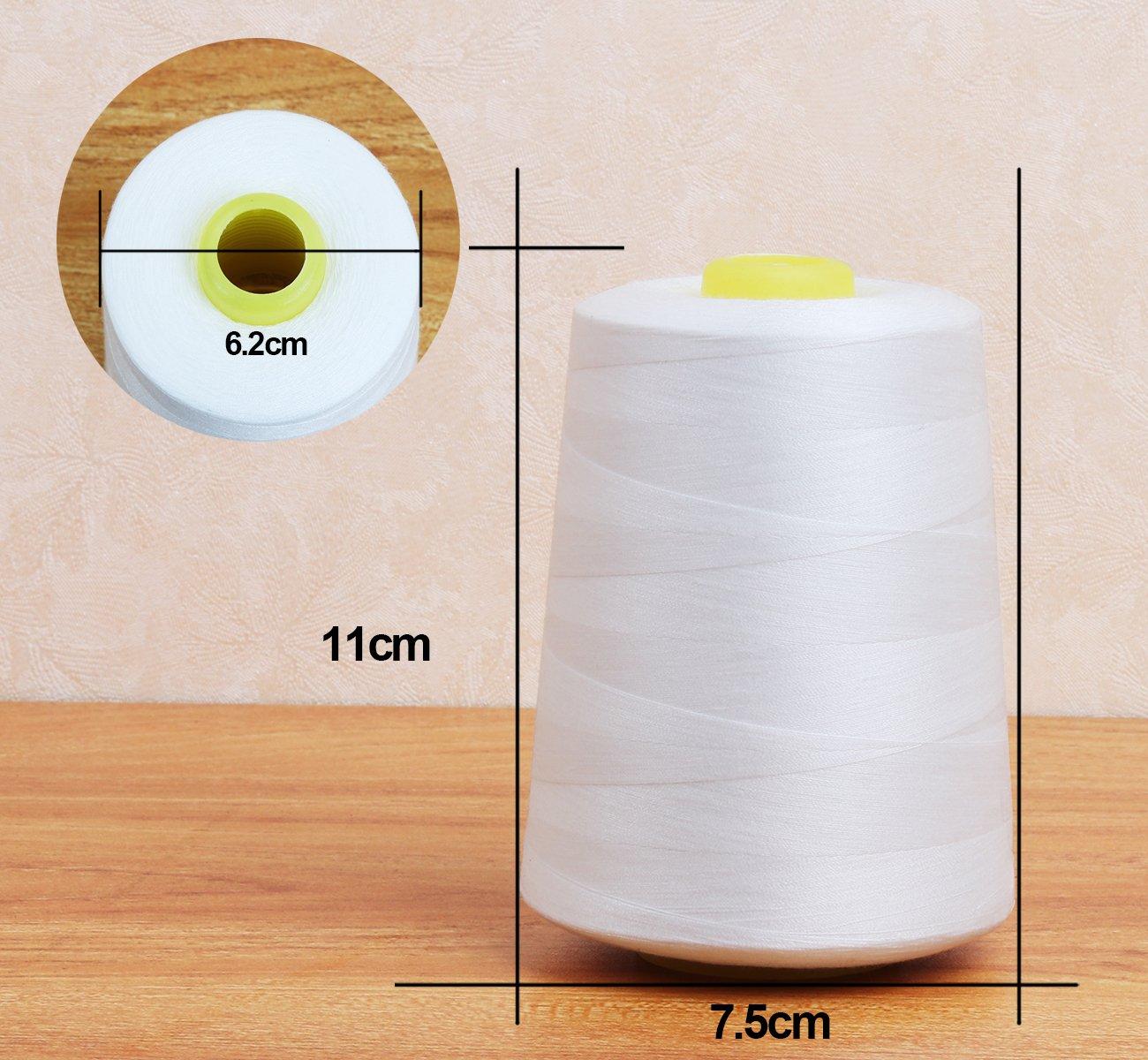 28000 yardas Blanco Hilos de coser de poli/éster Cubewit 4 PCS hilo de coser para la m/áquina de coser
