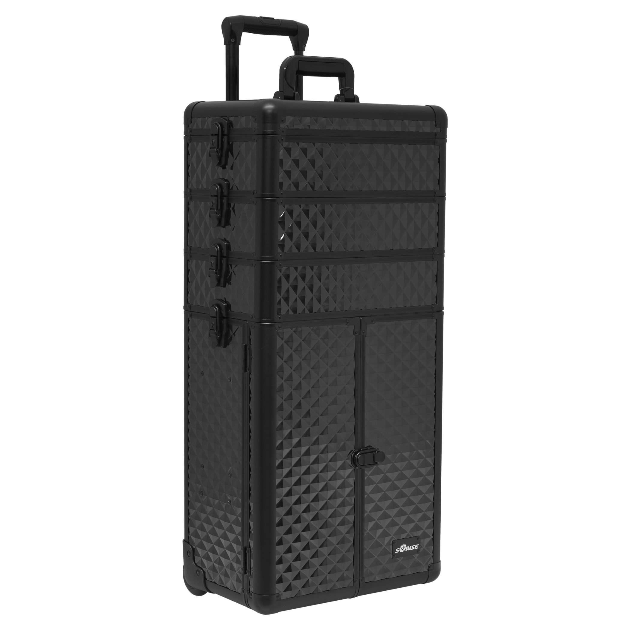 SUNRISE Makeup Case on Wheels 4 in 1 Professional Organizer I3365, 3 Stackable Trays and 4 Drawers, Locking with Mirror, Black Diamond