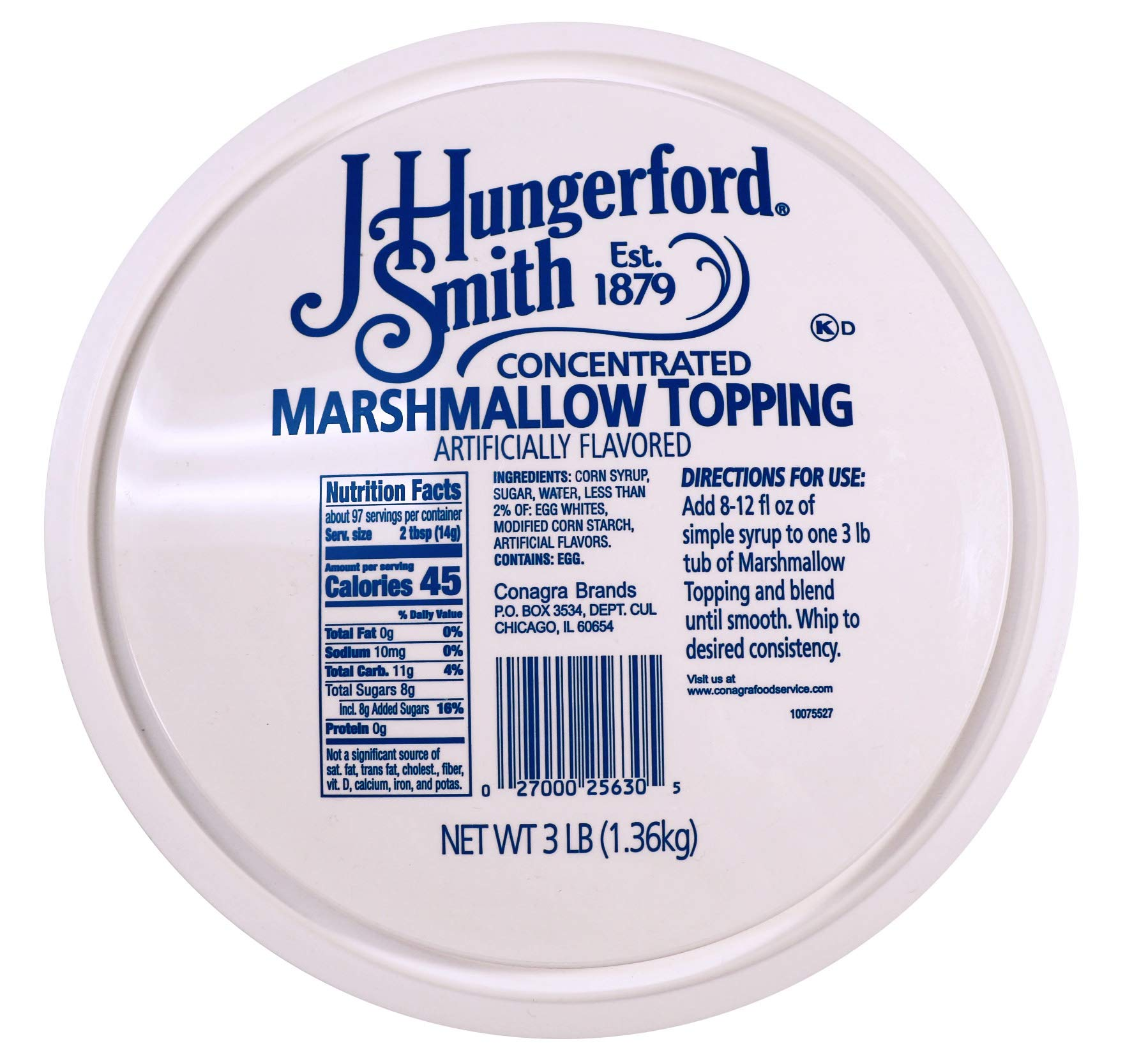 J Hungerford Smith Concentrated Marshmallow Topping, 48 Oz Tub, 4 Pack by J. Hungerford Smith