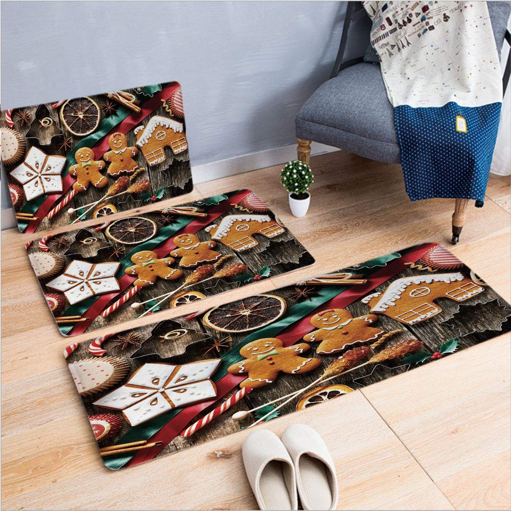 "3 Piece Non-Slip Doormat 3D Print for Door mat Living Room Kitchen Absorbent Kitchen mat,Cookies Dried Fruits and Bakery Tools Festive,15.7""x23.6""by19.7""x31.5""by17.7""x53.1"",Coffee Table Carpet Window"