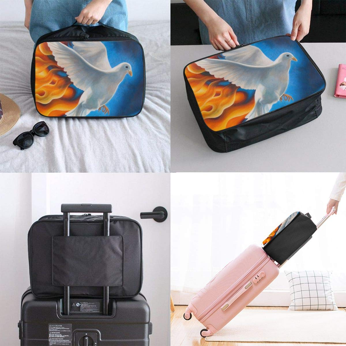 Travel Luggage Duffle Bag Lightweight Portable Handbag Dove Print Large Capacity Waterproof Foldable Storage Tote