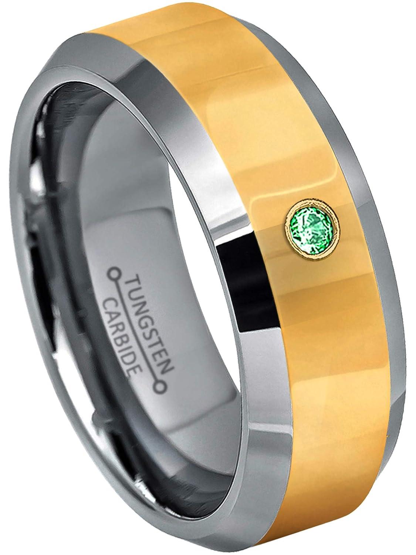 0.07ct Tsavorite Garnet Solitaire Ring January Birthstone Ring 2-Tone Comfort Fit Tungsten Wedding Band