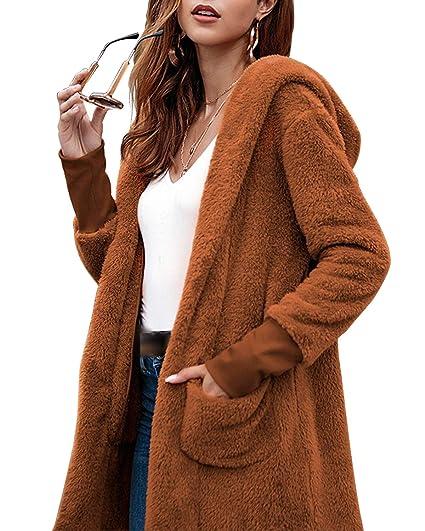 Mifusanahorn - Abrigo de Peluche con Capucha para Mujer, de Manga Larga, Color Liso