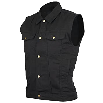 Amazon.com: Jean Motorcycle Vest with Gun Pockets | Mens Black ...