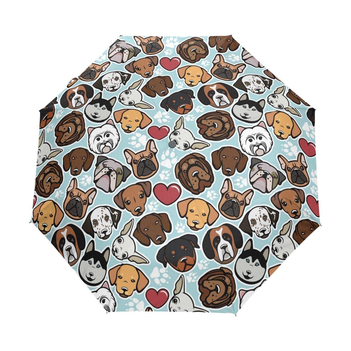 WOZO Hipster Paw Print Pug Dog 3 Folds Auto Open Close Umbrella   B074N3RFGM