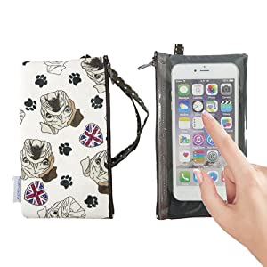 Tainada Smartphone Wallet Purse Pouch with Clear View Window Touch Screen & Neck Strap Lanyard for iPhone Xs Max, XR, 8 Plus, Samsung Galaxy Note 9, S9+ (Bulldog White)