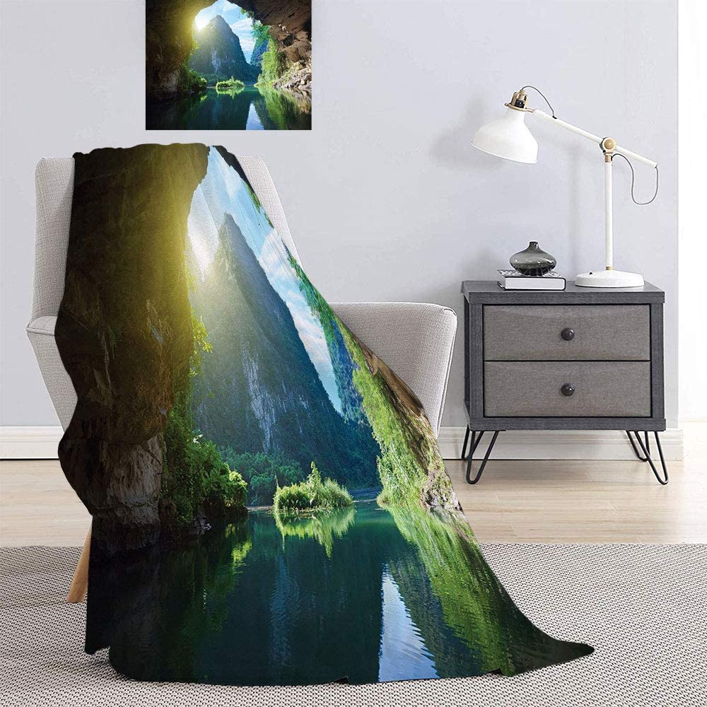 SATVSHOP Snuggle Super Soft blanket-70 x50-Full Queen Blanket,Breathable Cozy Cotton Blankets.Rock Shelter with Lake Magical Up on The Sea Mediterranean Wonders Wet Photo Blue Cream.