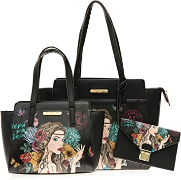 Women Graphic 3 Piece Satchel Bags Set, Large Handbag, Small Handbag, Wristlet