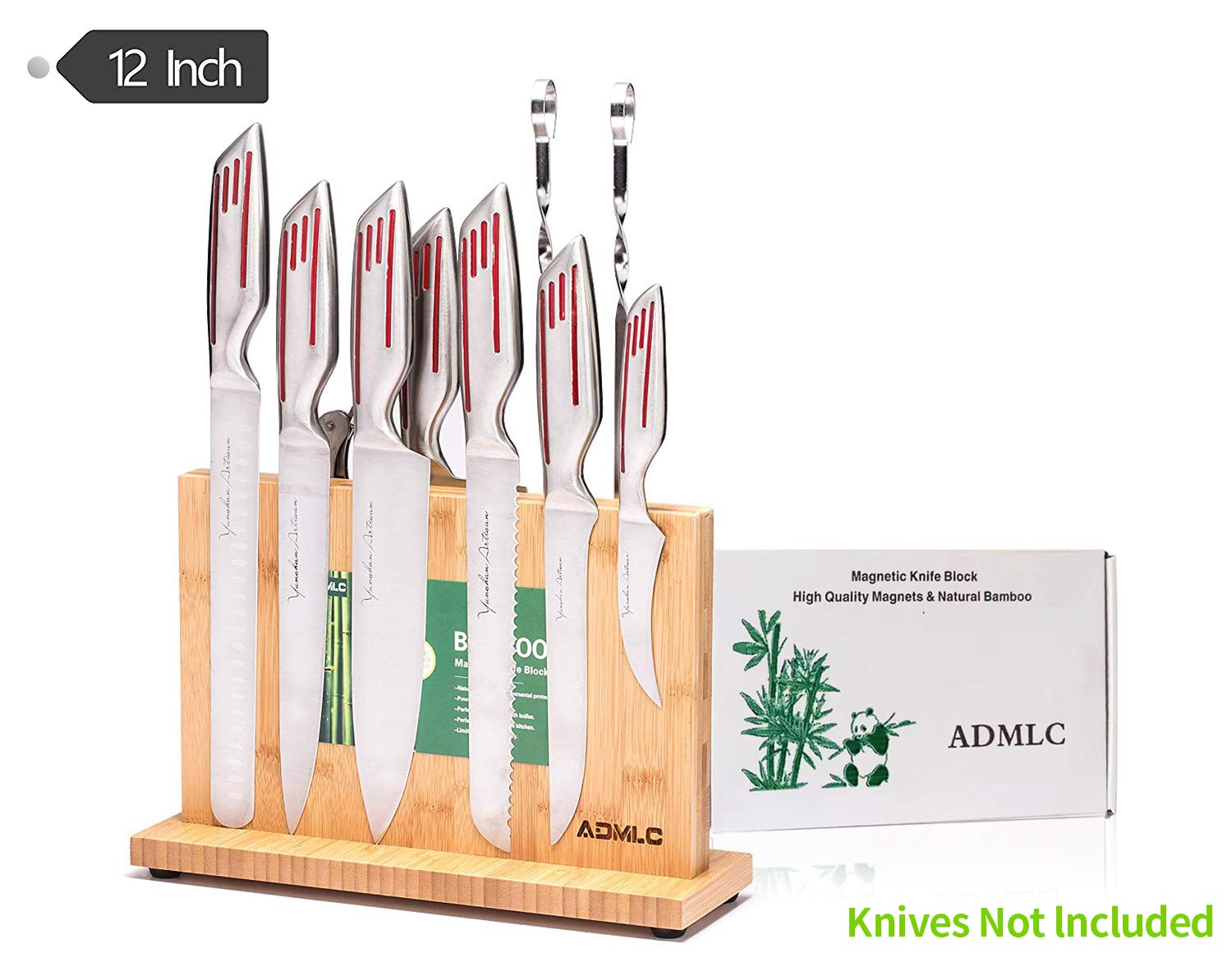 Magnetic Knife Block(Natural Bamboo),Knife Holder,Knife Organizer Block,Knife Dock,Cutlery Display Stand and Storage Rack,Kitchen Scissor Holder,Large Capacity,Double Side Strongly Magnetic (12inch) by ADMLC