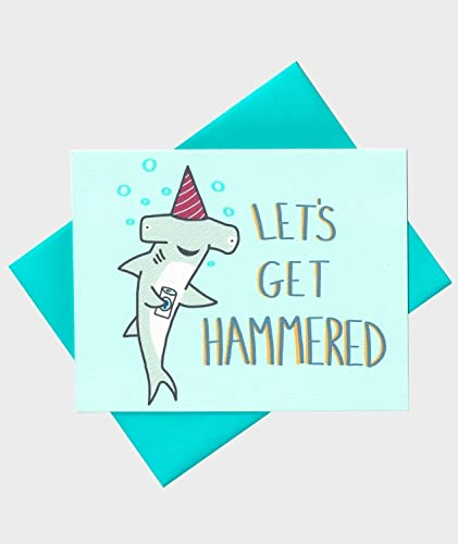 Amazon Shark Card Lets Get Hammered Hammerhead Shark Beer – Funny 21st Birthday Cards