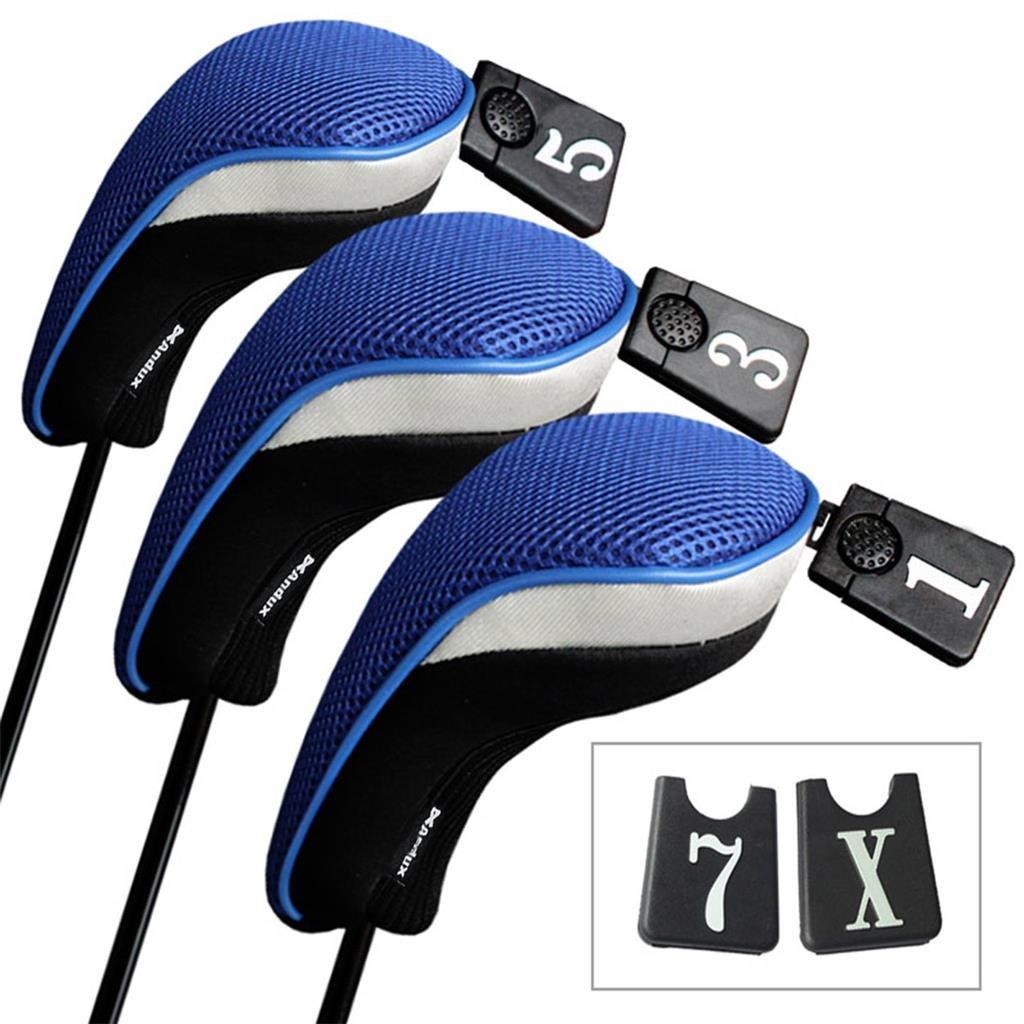 Andux  ゴルフドライバーウッドヘッドカバー 3点セット 交換可能3個パック。 B00E54AEL2 Black &Blue Black &Blue
