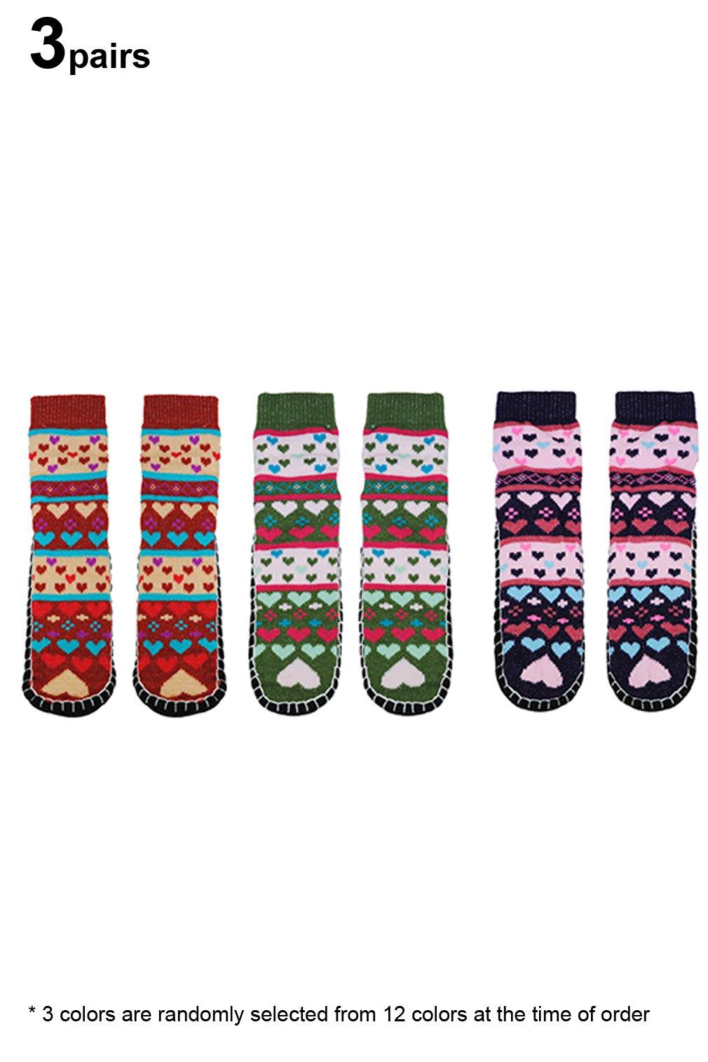 Basico Women Knitted Home Slipper Socks with NON Slip Bottom (3 Pairs Dark Assort -Heart)