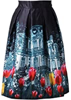 Woxlica Stretchy Waistband A Line Midi Skirts for Women (floral, polka dot)