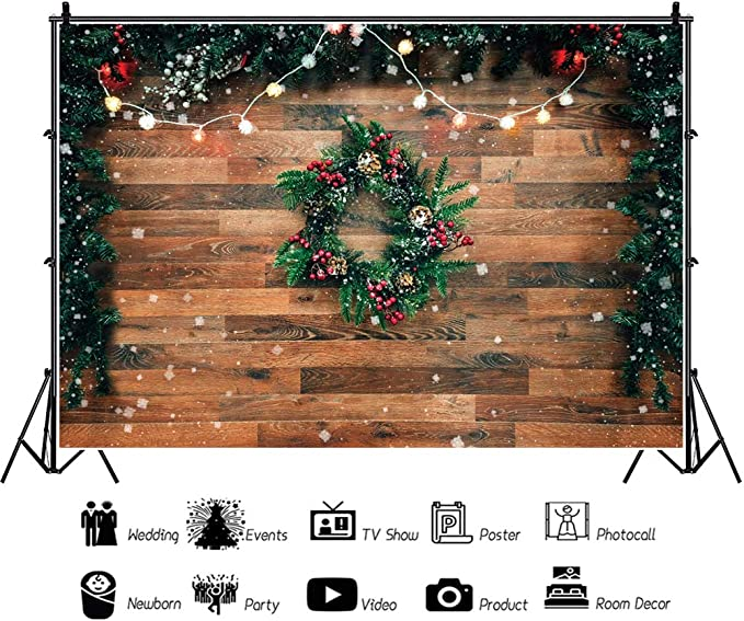 DASHAN 3x5ft Polyester Christmas Window Backdrop Rustic Christmas Merry Christmas Wall Decor Xmas Photography Background Pine Cone Happy New Year Family Winter Holiday Rustic Party Decor Photo Prop