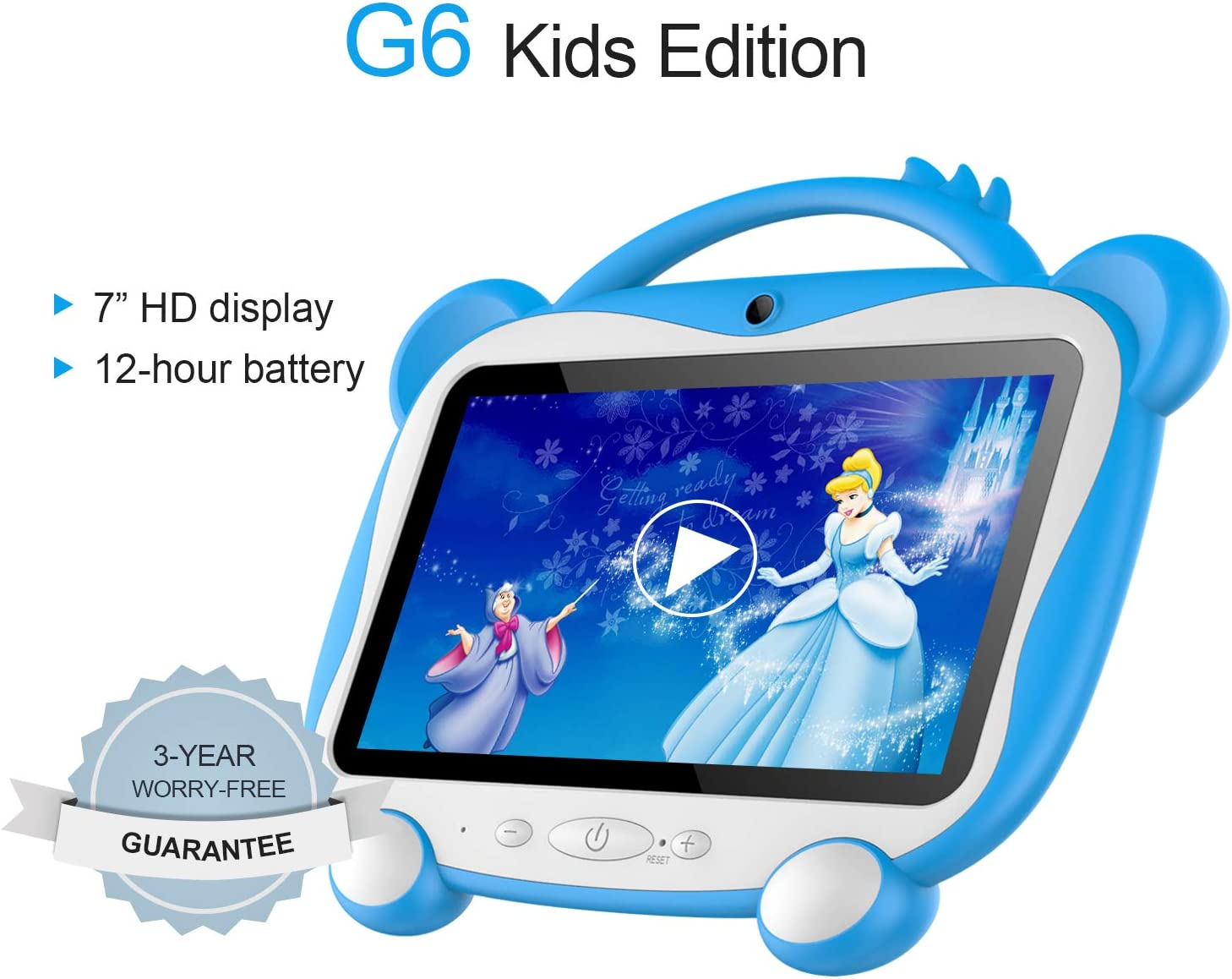 "GOODTEL G6 7"" Kids Tablets 16 GB ROM 128GB Extended Memory,GMS Google Certification Android 10 Tablet Quad-Core,Google Play Pre Installed,IPS HD Display,Kid-Proof Case (Blue)"
