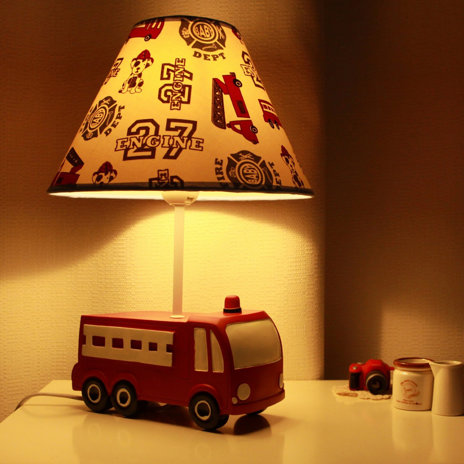 Fire Truck Kids Table Lamp Transportation Imagination Inspiring Bedside Lamps with Fabric Odorless Lampshade for Boy's Bedroom, Sturdy, Nursery yiiyaa