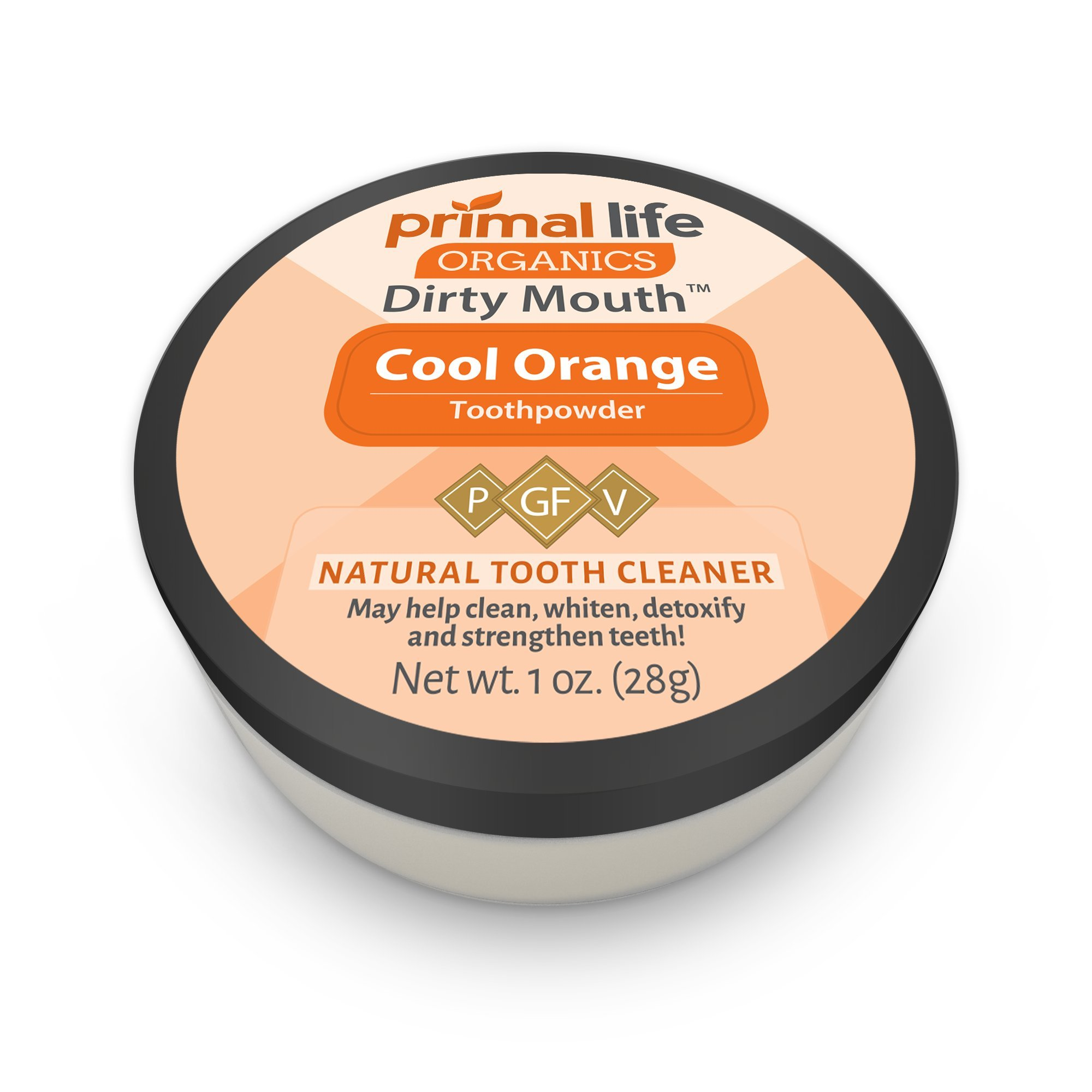 Dirty Mouth Organic Toothpowder #1 BEST RATED All Natural Dental Cleanser- Gently Polishes, Detoxifies, Re-Mineralizes, Strengthens Teeth - Cool Orange (1 oz = 3mo Supply) - Primal Life Organics