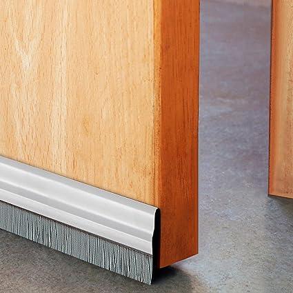 Deco Home Door Seal (94cm/36.5u0026quot;) Aluminium Plate With Nylon Brush Ivory