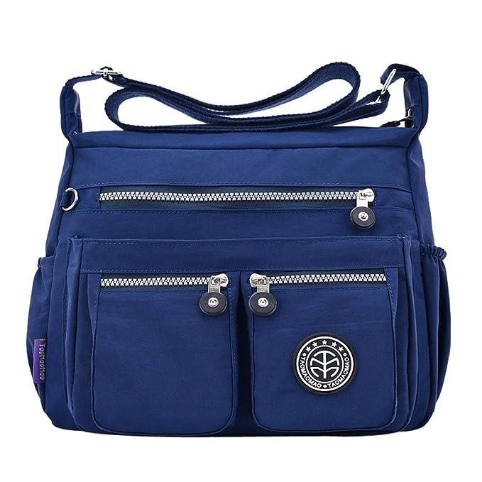 31e941309df2c OYSOHE Damen Einfarbig Wasserabweisend Nylon Umhängetasche Tasche Rucksack