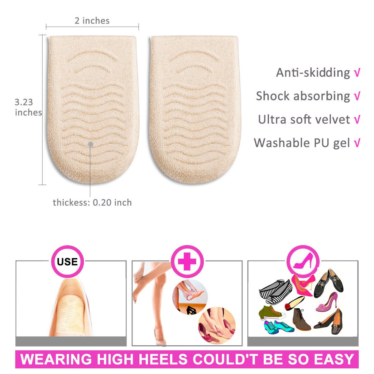 High Heel Pads Heel Liner Back Heel Cushion Inserts Snugs for Women Prevent Blisters Relax Pain