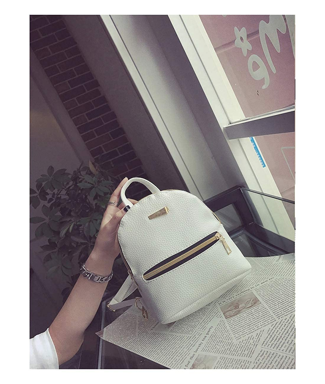 HARLAN Womens Backpack Candy Color Solid Preppy Chic Mini Bag