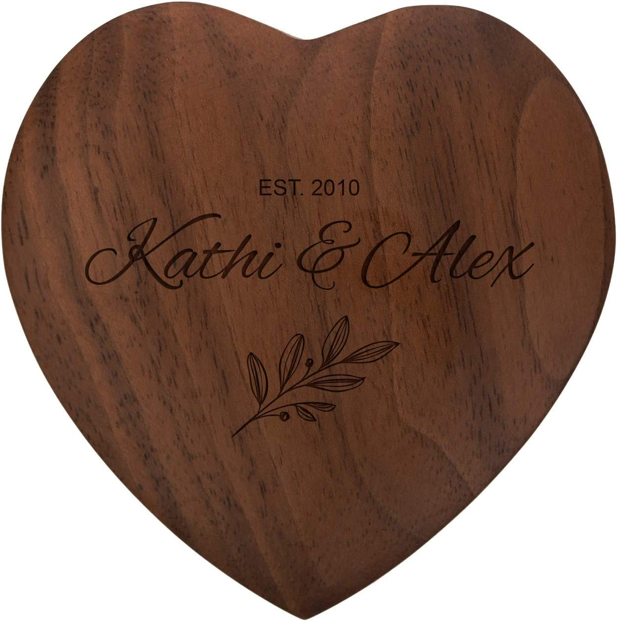 Holz Ringbox zur Trauung oder Verlobung Namen und Datum Ringtr/äger FORYOU24 Ringkissen als Herz aus Holz mit Gravur zur Hochzeit Motiv 01 hell Ring Schatulle mit Deckel personalisiert
