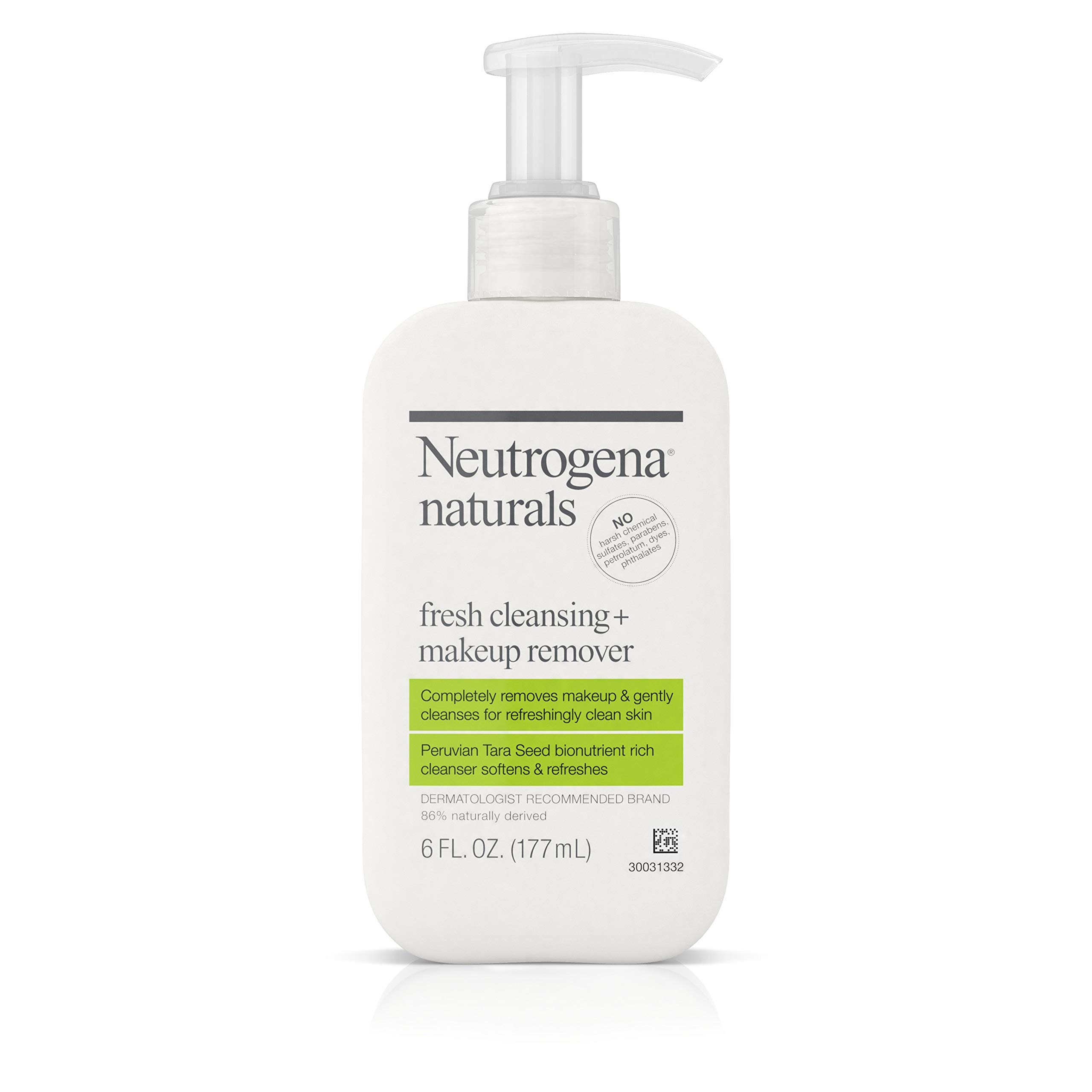 Neutrogena Naturals Fresh Cleansing Daily Face Wash + Makeup Remover with Naturally-Derived Peruvian Tara Seed, Hypoallergenic, Non-Comedogenic & Sulfate-, Paraben- & Phthalate-Free, 6 fl. Oz (2 Pack) by Neutrogena
