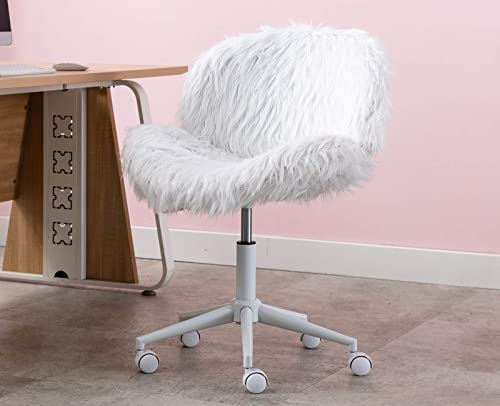 Chairus Makeup Chair Faux Fur Accent Chair Swivel Rolling Chair Reading Chair