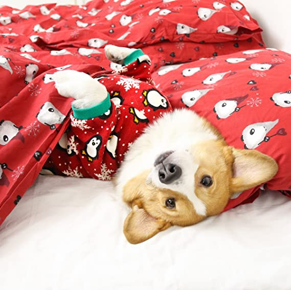 fitwarm cute penguin xmas pet clothes for dog pajamas soft christmas pjs red small