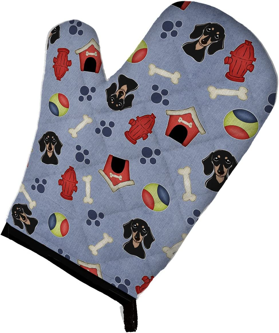 Caroline's Treasures BB3994OVMT Dog House Collection Smooth Black and Tan Dachshund Oven Mitt, Large, multicolor