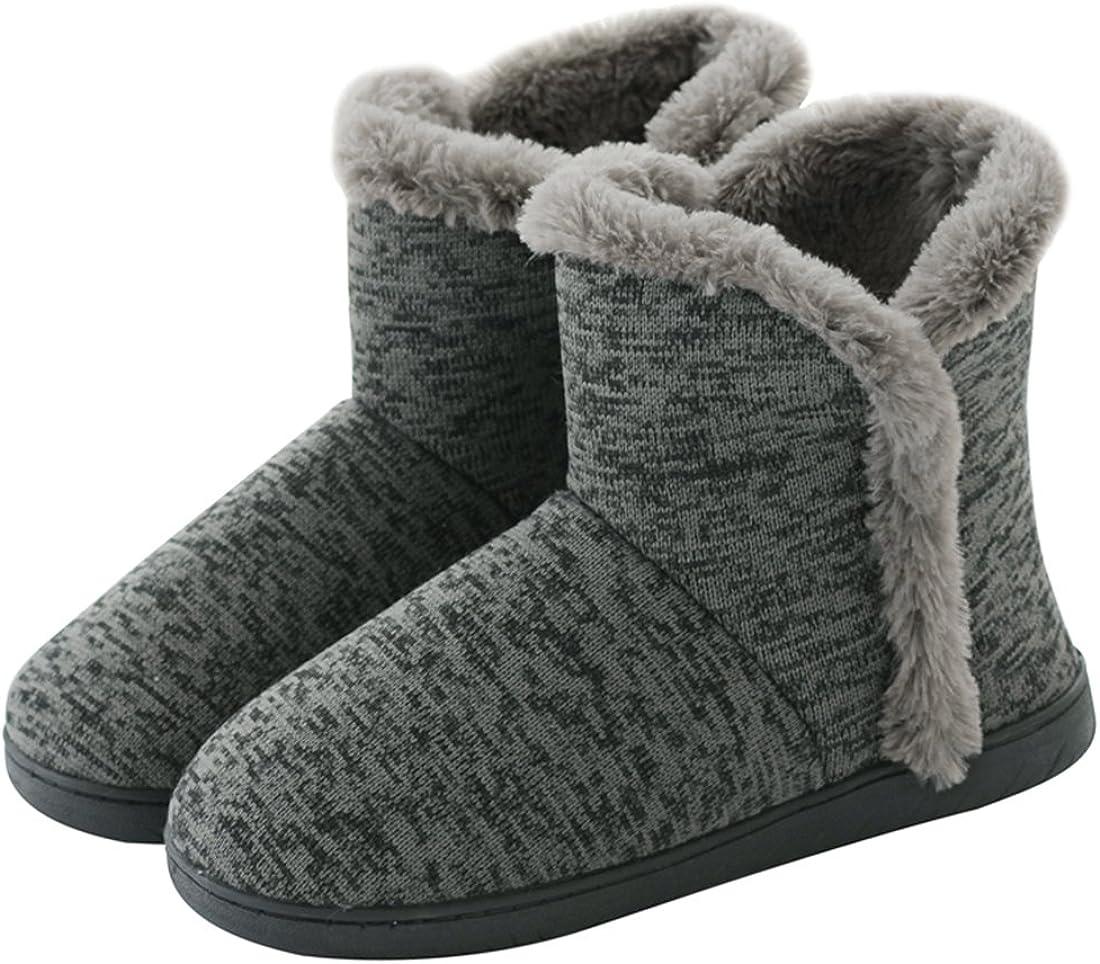 Neeseelily Women Cozy Plush Fleece Bootie Slippers Winter Indoor Outdoor House Shoes