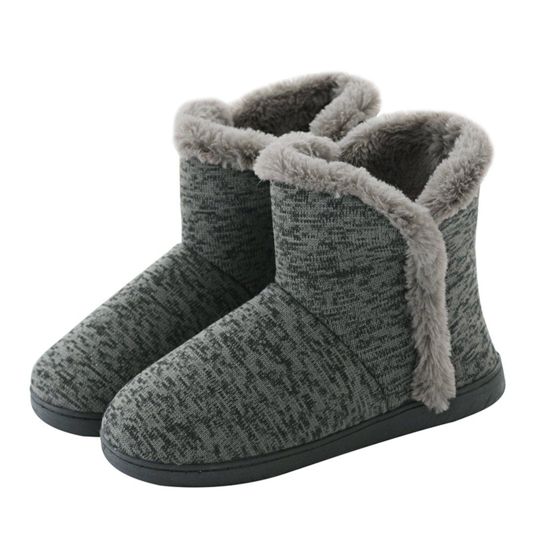 Neeseelily Women Cozy Plush Fleece Bootie Slippers Winter Indoor Outdoor House Shoes (8-8.5 B(M) US, Grey)