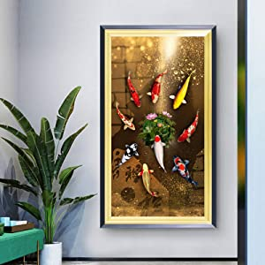 Liuqidong Chinese Style Red Koi Lucky Carp Canvas Painting Nordic Goldfish Poster Home Decor Picture Annual Ring Wall Art 23.6