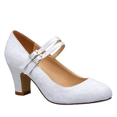 acc3c9071062 Duosheng & Elegant HC1701 Women Closed Toe Mary Jane High Block Heel Court  Shoes Double Strap