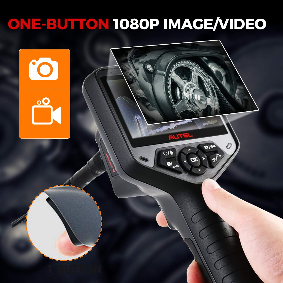 and LED Lights for Car//Pipeline//Wall//Chimney Maintenance 2MP Dual Lens 8.5mm Inspection Camera with 7X Zoom Autel MV480 Industrial Endoscope//Borescope 4.1 Color Display a Waterproof Cable