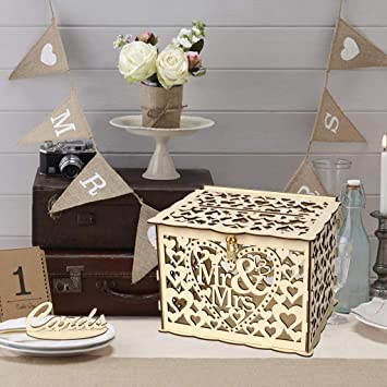 Diy Rustic Hollow Wedding Money Box With Lock And Card Sign Wooden