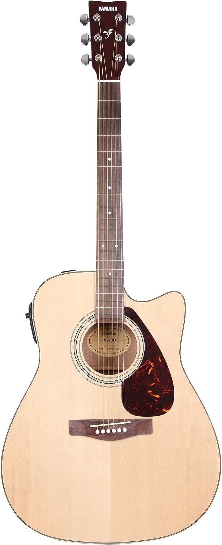 Yamaha FX370C - Guitarra acústica con cuerdas metálicas (pastillas piezoeléctricas, palisandro, tipo cutaway), color natural