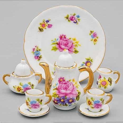 Casa De Muñecas Rosa Rosa Porcelana Cocina Hornear Set Miniatura Accesorio De Cocina