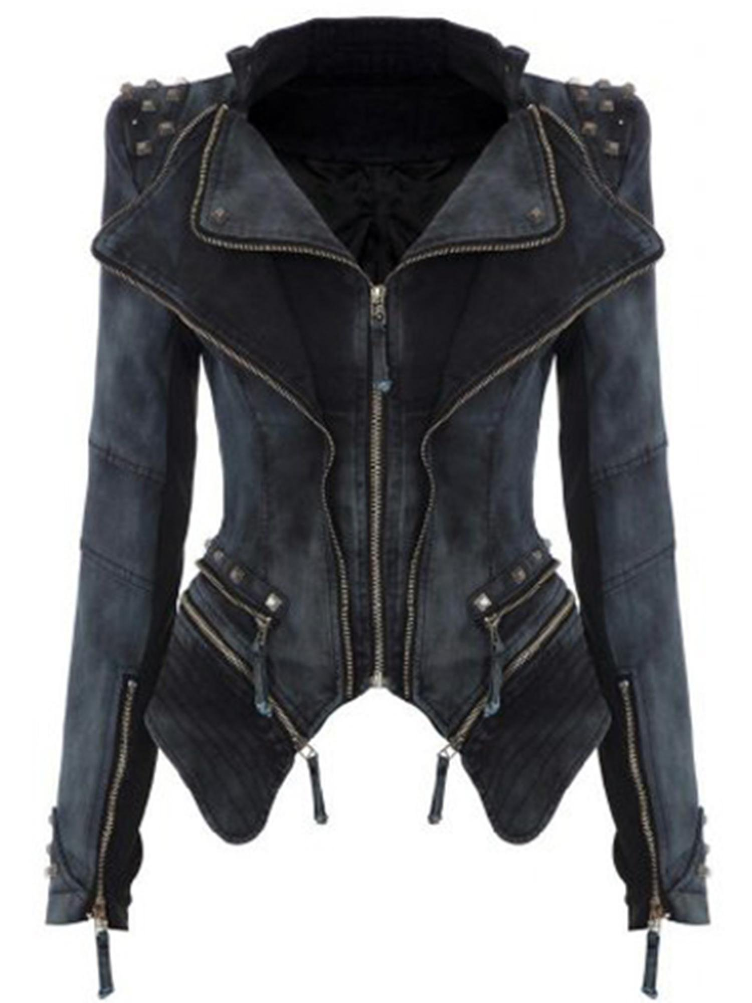 Fanala Moto Stretch Denim Jean Jacket Black L
