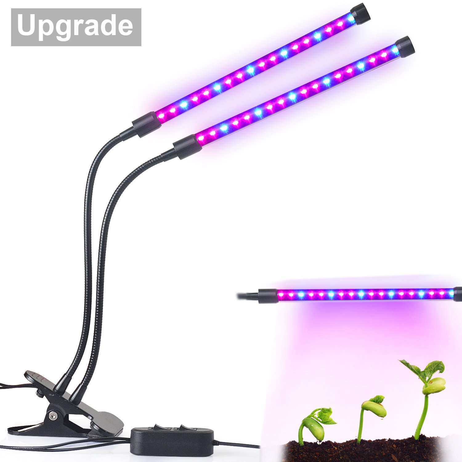 Upgraded Dual Lamp LED Grow Light Aotson 18W Dimmable 2 Levels Plant Grow  Lamp Lights