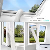 JOYEUX 400CM Universal Window Seal for Portable Air Conditioner,Window Seal Zipper Velcro,Prevents the Entry of Hot Air,No Need For Drilling Holes