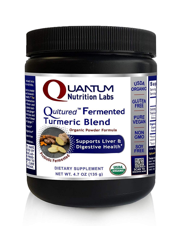 Quantum Nutrition Labs Qultured Fermented Turmeric Blend, 18.8 oz Powder, USDA Premier Research Organic & Vegan - Rhizome w/Natural Curcuminoids & Ginger Root