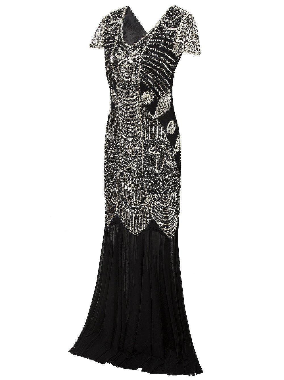Vikoros 1920s Long Prom Dresses Gown Beads Sequin Art Deco Evening Flapper Dress: Amazon.co.uk: Clothing