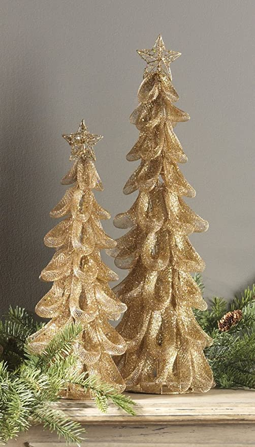 Christmas Tree With Mesh.Amazon Com Raz Imports Gold Mesh Christmas Trees Home