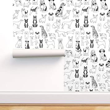 Spoonflower Pre Pasted Removable Wallpaper Dog Line Art Pug Dachshund Terrier Poodle Black And White Illustration Puppy Pet Print Water Activated Wallpaper 24in X 144in Roll Amazon Com