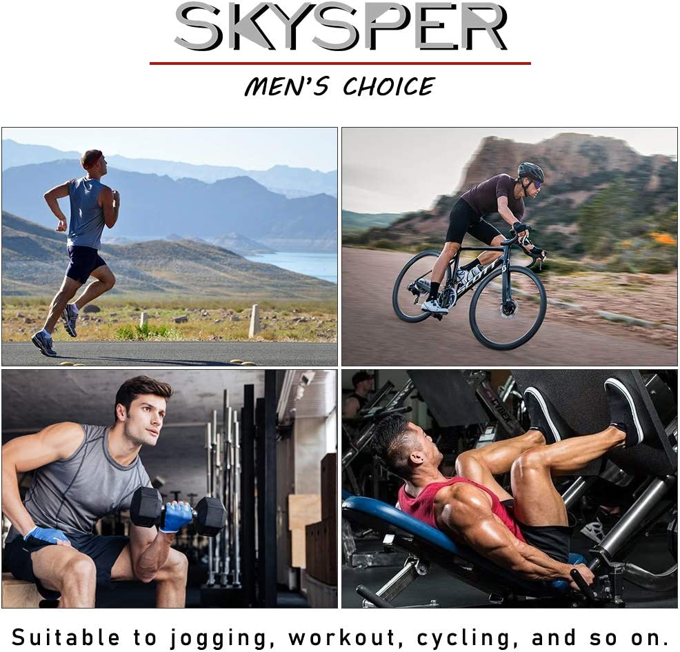 SKYSPER Mens Compression Shorts Base Layer Workout Tights Half-length Trousers Leggings for Running Gym Sport 3pcs