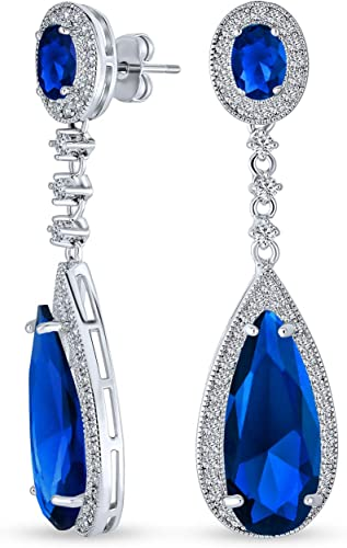 Sparkling Cz Sapphire Blue Bridal Earrings Gift for her Teardrop Wedding Earrings for a Bride Something Blue SEE VIDEO